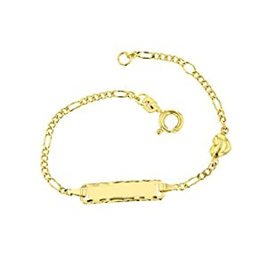 Baby ID-Armband 585 Gold Kinderarmband Armband Figaroarmband mit Herz 14 cm Schmuck *inkl. Gravur* Made in Germany 5.53055