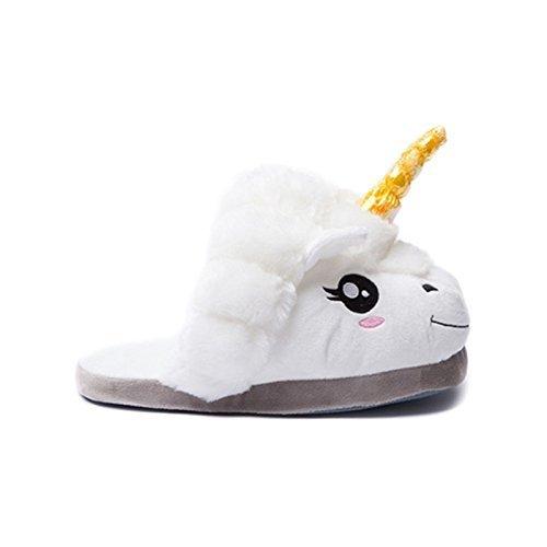 Kadcope Fantasy Unicorn Soft Pantouches en peluche Slip On Adult Compatible avec la taille européenne: 37-42 White-yellow