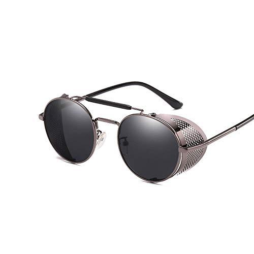 GRAZJ Retro Steampunk Sonnenbrillen für Herren und Damen Runde Designer-Sonnenbrillen Classic Oversized (Ausgabe : Style B)