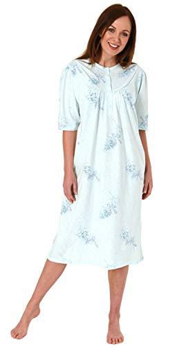 Jeanette by Normann Elegantes Damen Nachthemd mit kurzen Ärmeln, fraulich, florales Dessin - 63540, Größe2:48/50, Farbe:Mint