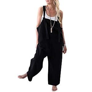 Onsoyours Damen Retro Latzhose Sommerhose Jumpsuits Playsuit Bib Hose Leinen Casual Loose Overall Lange Wide Leg Hosen