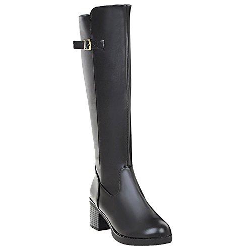 Mee Shoes Damen chunky heels runde Reißverschluss langschaft Stiefel Schwarz