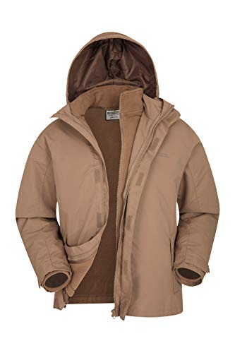 Mountain Warehouse Fell Wasserfeste 3 in 1 Herren Winterjacke, Warmer Fleecejacke, Regenjacke, Herrenjacke, Funktionsjacke, Allwetterjacke, Doppeljacke, Übergangsjacke, Frühling Beige XXX-Large