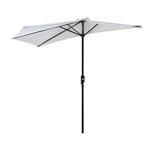 Outsunny® Outsunny Sonnenschirm Kurbelschirm Gartenschirm Schirm Marktschirm, Alu, halbrund, grau/cremeweiß (Cremeweiß+Schwarz)