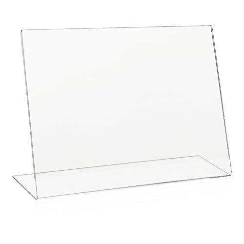 VITAdisplays® L-Aufsteller DIN A4 Querformat / Tischaufsteller / L-Ständer / Plakataufsteller / Werbeaufsteller / schräg, Acryl-Glas, Transparent (NE-380Q)