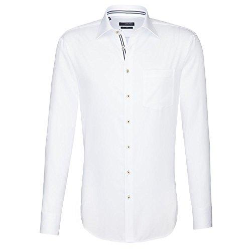 Seidensticker Herren Langarm Hemd UNO Regular Fit Kent Tape weiß gestreift 131030.01 (38, Weiß)