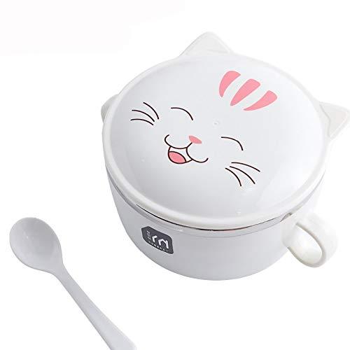 NYNLAGG Lovely Cat Brotdose Für Kinder Edelstahl Bento Box Umweltfreundliche Mode Frischhaltedose Picknick Schuleweiß