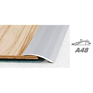 Aluprofile, Bodenleiste Profil Innendekor, Alu Höhenausgleichsleiste 41x6mm, A48, Länge:2.00 Meter, Farbe:Silber