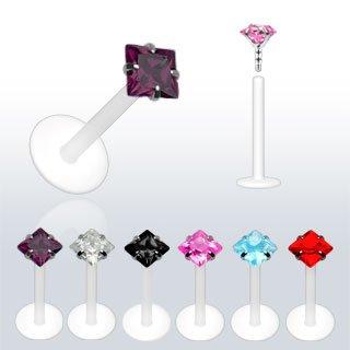 Piercing labret monroe CZ carré en PTFE Flex Taille 1,2 mm x 6 mm x 3 mm Clair