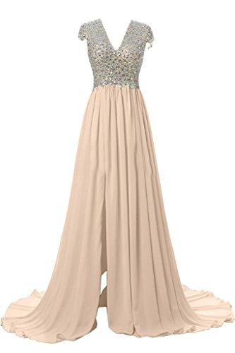 Victory Bridal Luxurioes Steine V-ausschnitt Kurzarm Abendkleider Partykleider Abiballkleider Lang A-linie Neu Hell Champagner