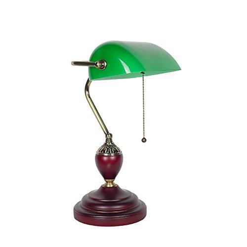 Tischlampe Schreibtischlampe Wohnzimmer Schlafzimm Traditionelle Banker Lampe, Antique Style Smaragdgrün Glas Schreibtischleuchte, Metall Perlen Zugschnur Switch Attached, E27 Schraube Mund YANGFF-Nachttischlampen ( größe : 23*42*12cm )