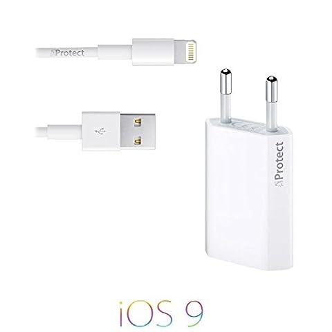 Original iProtect 2 en 1 kit avec câble USB de charge et un adaptateur pour Apple iPhone 5 5s 5c, iPhone 6, iPod Touch 5G, iPad mini, iPad mini 2, iPad 4, iPad Air, iPad Air 2, iPod Nano 7G en blanc
