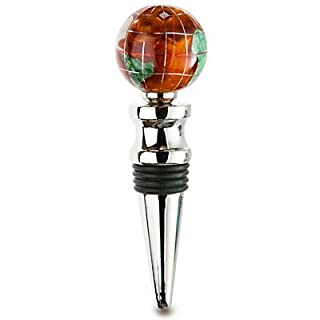 KALIFANO Gemstone Globe with Copper Amber Opalite Ocean on a Bright Silver Wine Bottle Stopper