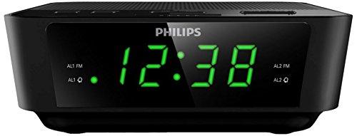 Philips AJ3116/12 - Radio Despertador Doble Alarma, Snooze, FM Digital, sintonizador Digital, Negro...