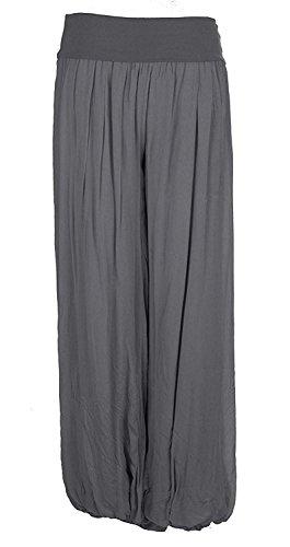 Damen Italienisch Lagenlook Quirky Layering Plain Seide Flap Taille Puffball Style Harem Hosen Leggings Jogger Hosen Loose Baggy One Size Plus (Eine Größe 36-48, Holzkohle) (Hosen Gefütterte Seide)