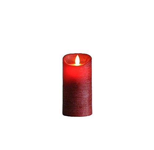 LED Vela de cera real en rojo–H15cm/d7,5cm–con temporizador