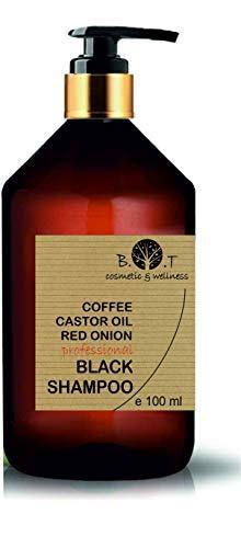 Schwarzes Koffein-Shampoo, Rizinusöl und roter Zwiebel Extrakt Anti Fall Nachwachsen der Haare Anti-Lösung regt das Haarwachstum (100 ml) (Schwarze Haare, Shampoo)