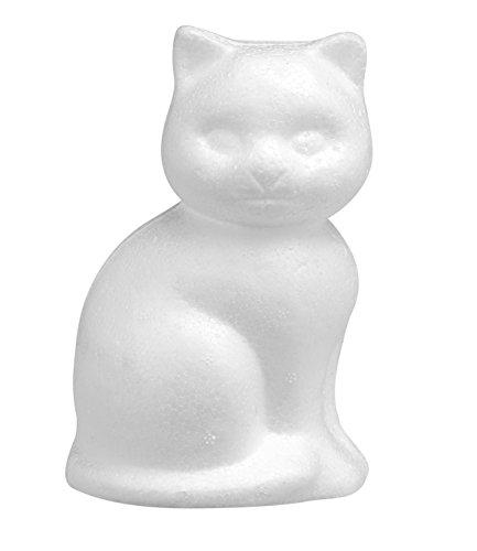 GLOREX Styropor Katze, Weiß, 14 x 9 x 8 cm