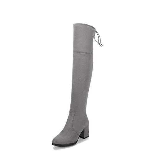 MENGLTX High Heels Sandalen Neue Big Size 32-48 Frauen Über Knie Hohe Stiefel High Heels Runde Kappe Herbst Winter Stiefel Hochwertige M257-4 10 Grau -