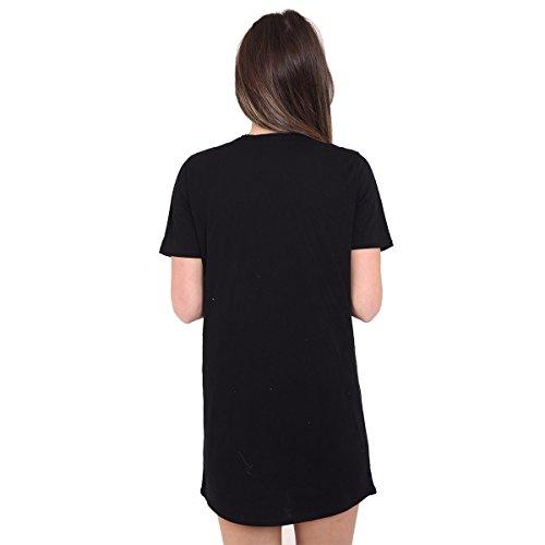 Fashion Essentials-Frauen Ñ Live Love Slogan Choker Adler rosa Minikleid Tops Black