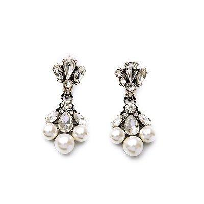 HOUSE OF JOY, Ohrringe mit weißen Kunstperlen, raffiniert, elegant, Gatsby-Stil, silberfarben