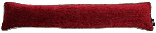McAlister Textiles - Essentials Kollektion | Alston Chenille Schlichter zweifarbiger Zugluftstopper mit Füllung in Rot mit Grau | Deko Windstopper für Fenster, Türen Essential Windstopper