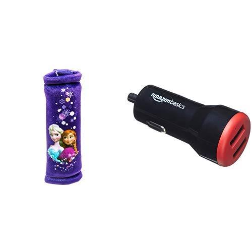 Disney Eiskönigin EK-KFZ-450 Gurtpolster AmazonBasics - Kfz-Ladegerät für Apple- & Android-Geräte, USB-Anschluss: 2 Eingänge, 4,8 Ampere / 24 W, Schwarz / Rot
