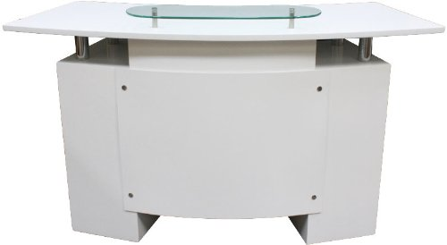 FIGARO Rezeption Rezeptionstheke mit Chromfüßen und Frontblende sowie Glasablage Farbe weiß