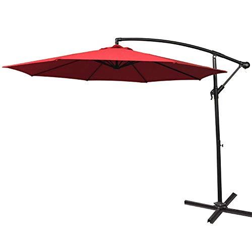 Aufun Alu Sonnenschirme 350cm mit kurbel UV Schutz 40+ - Rot balkonschirm gartenschirm höhenverstellbarer (Rot)