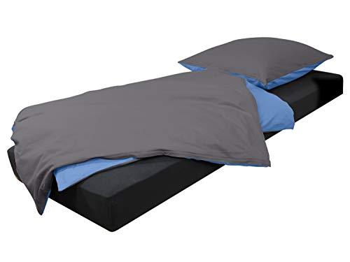 npluseins Bettwäsche - Kombi aus 2 Uni-Farben - 100% Baumwolle 705.1316, anthrazit-blau
