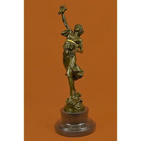 Statua di bronzo Scultura...Spedizione Gratuita...Genuine marmo base metallica greco signora Girl Brocca Vaso(XNCH-3135G-UK)Statue Figurine Figurine Nude per ufficio e casa Décor Primo Giorno Collezi