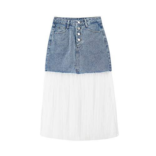DQHXGSKS Neue Frühling Sommer Hohe Taille Blue Denim Split Joint Perspektive Mesh Stitch Halbkörper Rock Frauen Mode Flut XL blau -