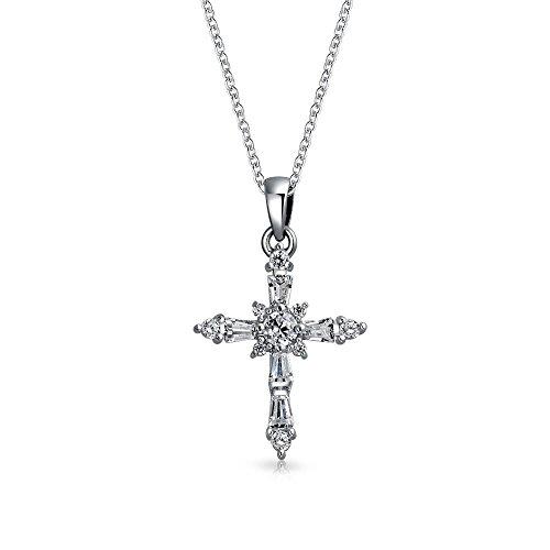 Vintage-Stil Kleine Zirkonia AAA CZ Baguette Botonee Kreuz Kette Mit Anhänger Für Damen Jugendlich 925 Sterling Silber (Baguette-kreuz-anhänger)