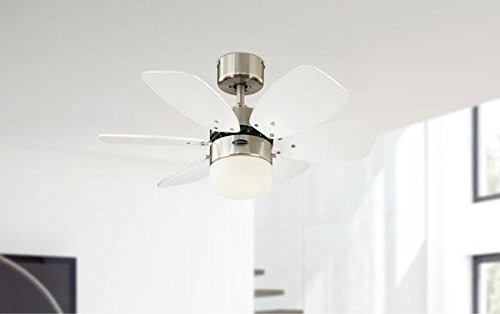 31F4PGtN3 L - Westinghouse Lighting 78788 Flora Royale One-Light 76 cm Six Indoor Ceiling Fan, Opal Frosted Glass, Satin Chrome Finish…