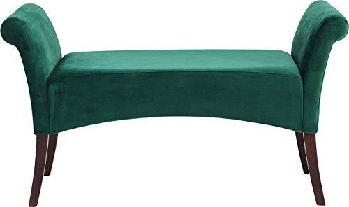 Kare Design Polsterbank Motley Fairy, gepolsterte, schmale 2er Sitzbank, kleine Deko Design Stoffschuhbank aus Buchenholz, Dunkelgrün-Samt (H/B/T) 61x110x40cm