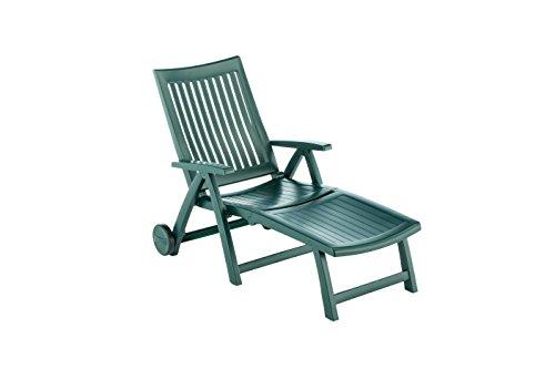 Kettler Roma Advantage Gartenliege – klappbare Sonnenliege für Garten, Terrasse und Balkon – Rückenlehne mehrstufig verstellbar – wetterfeste Rollliege aus beständigem Kunststoff – grün