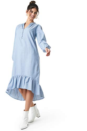NA-KD Boho - Damen Boho Midikleider Buttoned Neckline Puff Sleeve Kleider Blau -