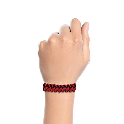 Imagen de pulseras de supervivencia de cuerda paracord roja y negra  alternativa