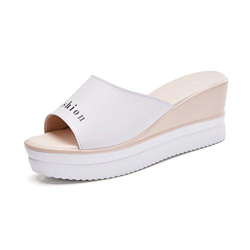 PENGFEI Mules Femme Pantoufles d'été Été Antidérapant Bottines épaisses Chaussures féminines Mode Pente avec pantoufles Confortable et respirant ( Couleur : A , taille : EU39/UK6/L:245mm ) B