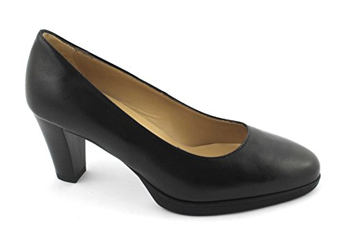 NERO GIARDINI 19100 nero scarpe donna decolletè tacco pelle plateaux 40