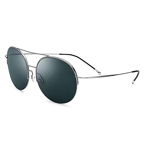 Ppy778 Polarisierte Sonnenbrille Unisex Classic Round Metal Frame Retro Sonnenbrille (Color : Black)