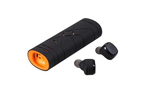 TKSTAR Bluetooth Kopfhörer, Mini Twins Wireless Earbuds mit Bluetooth V4.2 Stereo HD Bass Wasserdichte Kopfhörer Eingebauter Mic Ladekoffer für Android & IOS Smartphone JUD01 (Schwarz Orange) -