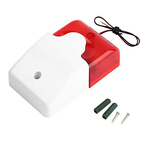 1Sets Mini Wired Strobe Siren Durable 12V Sound Alarm Strobe Flashing Red Light Sound Siren Home Security Alarm System 108dB