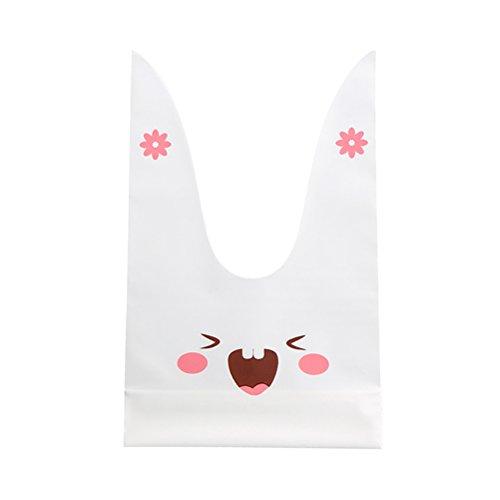 TOYANDONA 50 stücke Bunny Candy Cookie Tasche Kaninchen kreative Party behandeln Beutel Baby Shower Hochzeit Festival Geschenk Tasche (Kaninchen) (Behandeln Kaninchen Taschen)