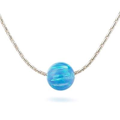Collier de boule d'opale bleue Bijoux en argent fin Longueur 41cm / 16inch + 5cm Extender
