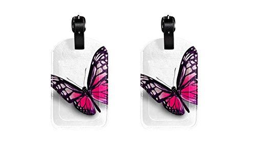 Schmetterling 038 Kofferanhänger Koffer Leder Gepäckanhänger 2 Stück Namensschild Adresse Tag Flugzeug Gepäckanhänger Visitenkartenhalter Kartenpaket 7x11.4cm