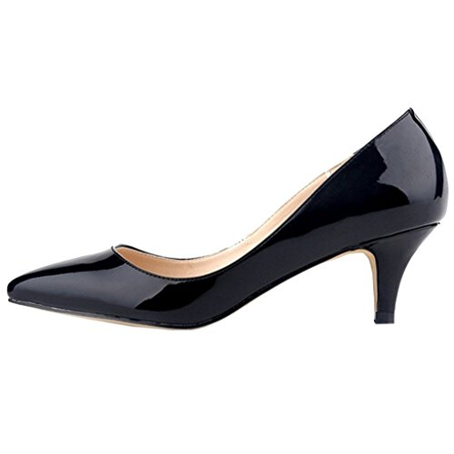 EKS Damen Pointed Toe Sexy Thin Low Heel Dress Pumps Shoes Schwarz-Lack
