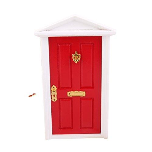 1/12 Puerta Exterior de Madera en Miniatura 4 Panel Llave para Casa de Muñecas Rojo