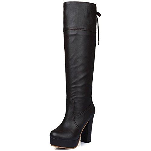 TAOFFEN Damen Klassischer Blockabsatz Stiefel Plateau Lange Stiefel Mit Absätzen Braun