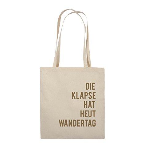 Comedy Bags - DIE KLAPSE HAT HEUT WANDERTAG - Jutebeutel - lange Henkel - 38x42cm - Farbe: Schwarz / Weiss Natural / Hellbraun